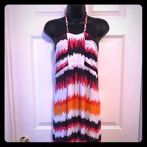 NWOT Design History Multicolored Halter Dress